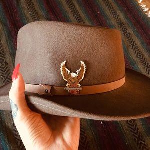 100% wool felt hat with Harley Davidson pin